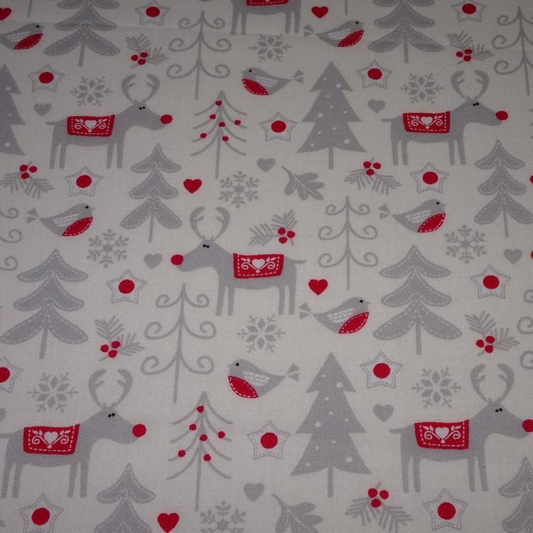 1 Metre Of Reindeer Christmas Red And Cream 100/% Cotton Ribbon